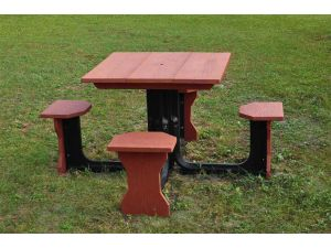 Small 4 Seat Red Square Picnic Table