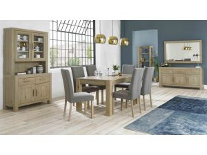 Bentley Designs Turin Aged Oak Large End Ext. Table And 6 Squ. Back Grey Chairs