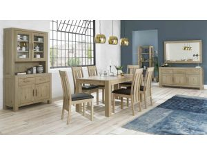 Bentley Designs Turin Aged Oak 6 Seater Table And 6 Slatted Chairs