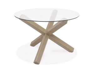 Bentley Designs Turin Aged Oak Circular Glass Table