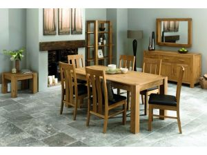 Bentley Designs Lyon Oak 150cm Dining Table + 6 Slatted Chair Dining Set