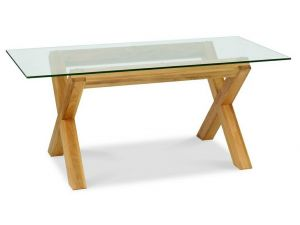 Bentley Designs Lyon Oak Glass Top Dining Table & 4 Wing Back Ivory Chairs