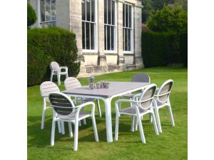 Europa Alloro Turtle Dove Standard Table With 6 Palma Chairs