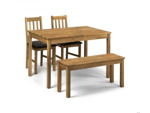 Julian Bowen Coxmoor Rectangular Dining Table and 2 Chairs and Bench