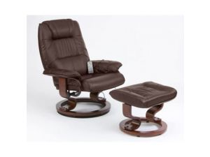 Restwell Napoli Brown Leather Recliner Massage Chair + Footstool