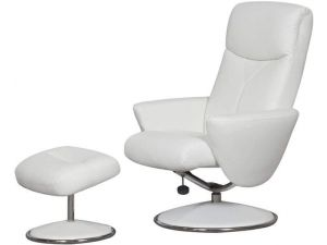Alizza White Faux Leather Recliner Chair With Footstool