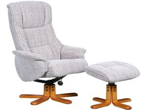 Shangri La Wheat Fabric Recliner Chair With Footstool