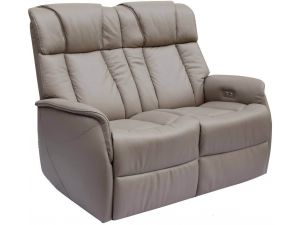 Sorrento 2 Seater Pebble Leather Electric Recliner Sofa