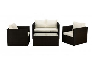 Royalcraft Cannes Black Rattan 4pc Sofa Set With Coffee Table
