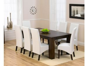 Madrid Dark 200 Cm Ext. Dining Table + 8 Verona Chairs Set