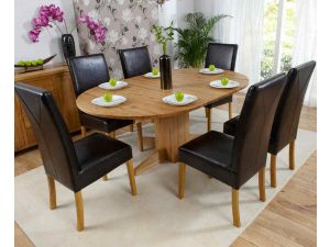 Monte Carlo Solid Oak Extending Dining Table + 6 Rustique Slatted Chairs