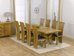 Canterbury Solid Oak Dining Table + 8 Arizona Dining Chair Dining Set
