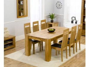 Madrid 240cm Solid Oak Extending Dining Table + 6 Monte Carlo Slatted Chairs