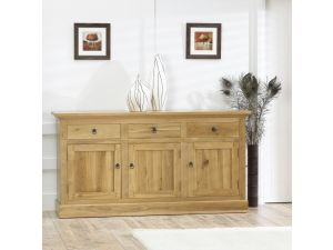 Rustique Solid Oak 3 Doors 3 Drawers Sideboard