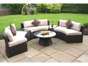 Maze 6pc Half Moon Rattan Sofa Set - Brown