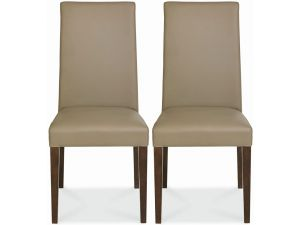 Bentley Designs Miles Walnut Taper Back Chairs Olive Leather Pair