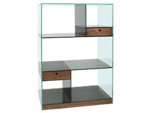 Greenapple Clear And Smoked Glass Cubic Shelving Unit
