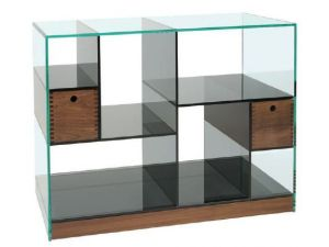 Greenapple Clear And Smoked Glass Wide Cubic Shelving Unit