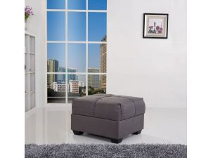 Cate Grey Fabric Ottoman with Storage