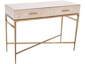 RV Astley Esta Biscuit Shagreen 2 Drawer Console Table