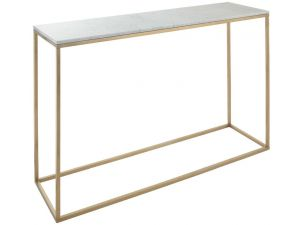 RV Astley Faceby Brushed Gold And Marble Console Table
