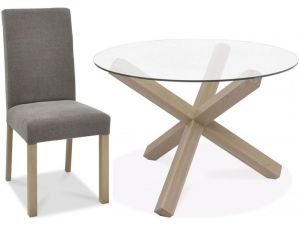 Bentley Designs Turin Aged Oak Circular Glass Table And 4 Squ. Back Grey Chairs