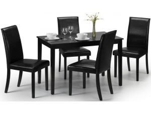 Julian Bowen Hudson Black Lacquered Dining Table and 4 Black Leather Chairs