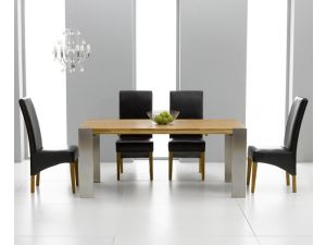 Knightsbridge Solid Oak Extending Dining Table + 6 Roma Chair Dining Set