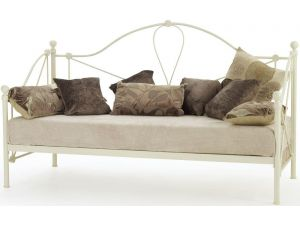 Serene Lyon 2ft6 Small Single Ivory Gloss Metal Day Bed