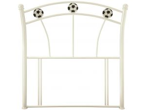 Serene Soccer 3ft Single White Metal Headboard