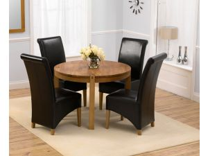 Verona 110cm Solid Oak Round Dining Table + 4 Roma Leather Chairs