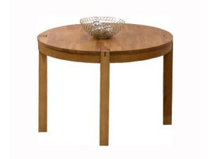 Verona 110cm Solid Oak Round Dining Table + 4 Valencia Leather Chairs