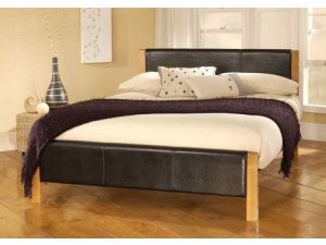 Limelight Mira 4ft6 Double Black Leather Bed