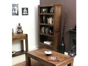 Baumhaus Shiro Walnut Large 2 Drawer Bookcase