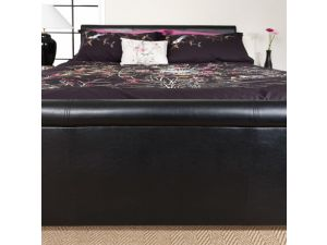 Serene Savona 4ft Small Double Black Faux Leather Bed Frame