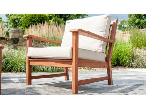 Alexander Rose Cornis Broadfield Wooden Lounge Armchair With Cushion