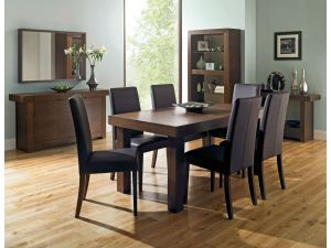 Bentley Designs Akita Walnut 4-6 End Dining Table + 6 Taper Back Brown Chairs
