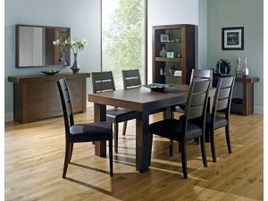 Bentley Designs Akita Walnut 6-8 End Extending Dining Table + 6 Slatted Chairs