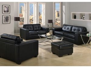 Gemona Black Leather 3+2+1 Seater Sofa Set