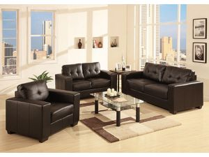 Gemona Brown Leather 3+2+1 Seater Sofa Set