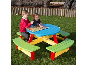 Childrens Painted Round Picnic Table For Age 2 to 5
