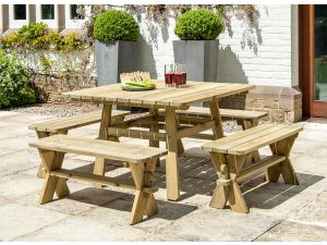 Alexander Rose Pine Wooden Table + 4 Benches Set