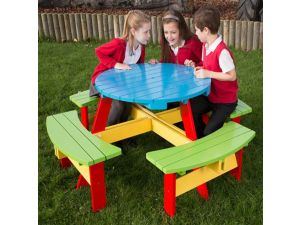 Childrens Painted Round Picnic Table For Age 6 to 9