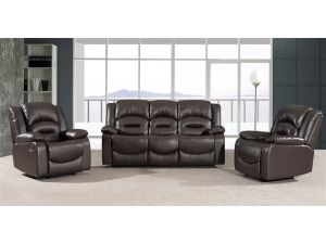 Barletto 3+1R+1R Black Leather Recliner Sofa Set