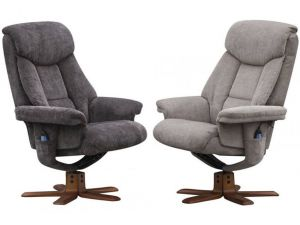 Exmouth Charcoal Fabric Massage Recliner Chair With Footstool