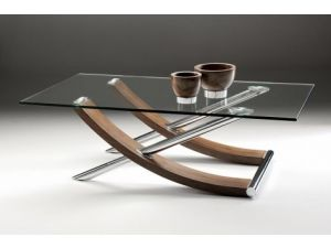 Chelsom Tusk Rectangular Walnut and Glass Coffee Table