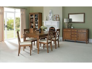 Bentley Designs Sophia Oak 6-8 Seater Ext. Dining Table & 6 'X' Back Chairs