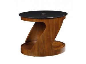 Jual JF304 Black Glass And Walnut Oval Lamp Table