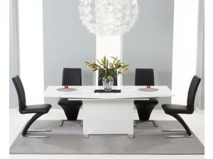 Marila 150cm White High Gloss Dining Table With 6 Hereford Black Chairs