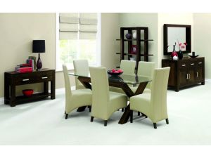 Bentley Designs Lyon Walnut Glass Top Dining Table & 6 Wing Back Ivory Chairs